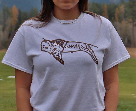 T-Shirt White, Brown Buffalo