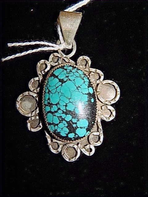 Spiderweb Turquoise Pendant with stamped curliques #2