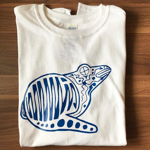 White T-Shirt, Blue Frog