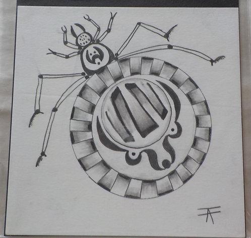 "Spider ""Iktomi"" pencil drawing"