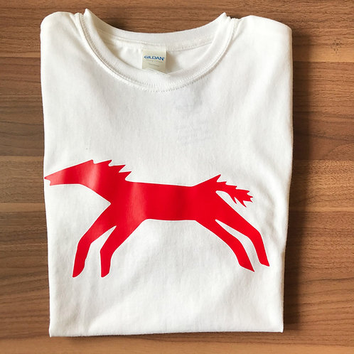 White T-Shirt, Red Horse Design