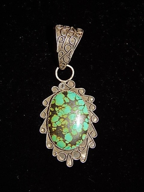 Green African Turquoise Pendant #3