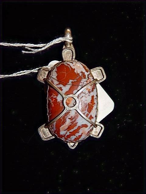 Red zebra Turtle pendant