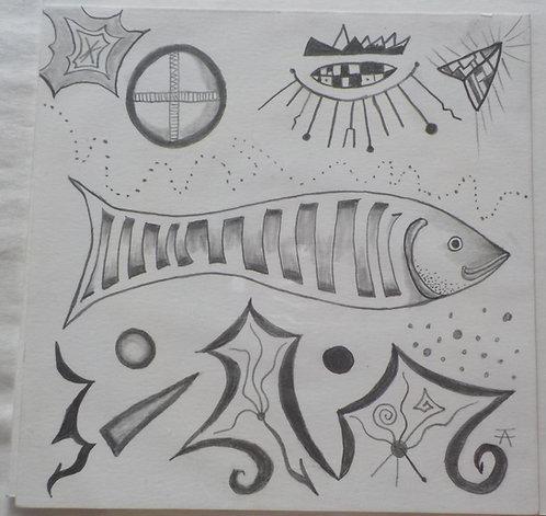 Be Happy Fish pencil drawing