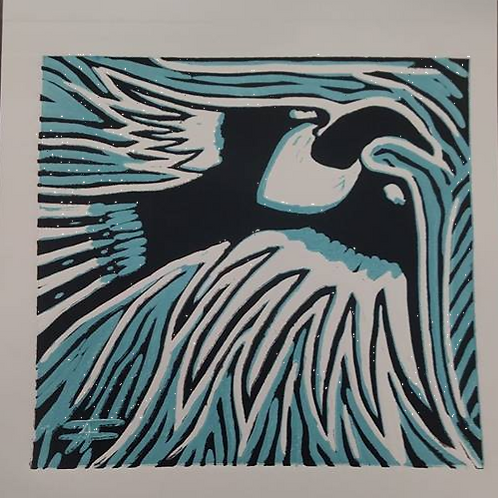 """Magpie Drops"" reduction print"