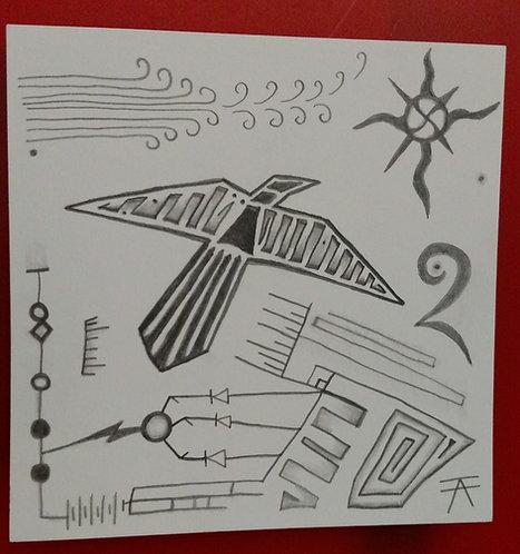Raven Wind Drawing, framed