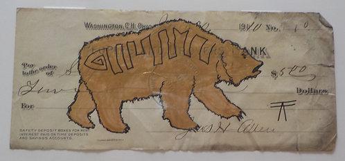 Ledger Art golden Bear on check