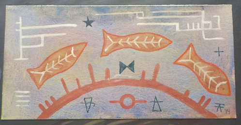 """""""3 Fish crossing"""" watercolor"""