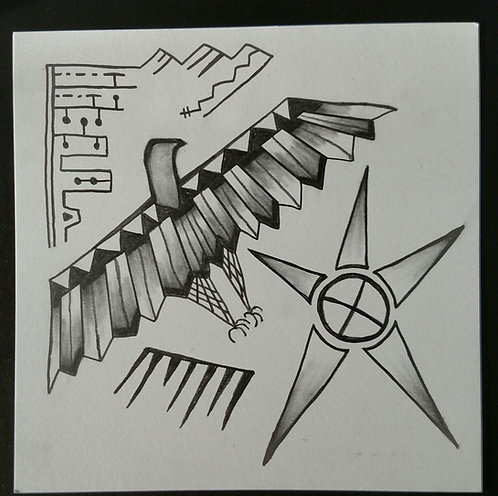 Thunderbird framed pencil drawing