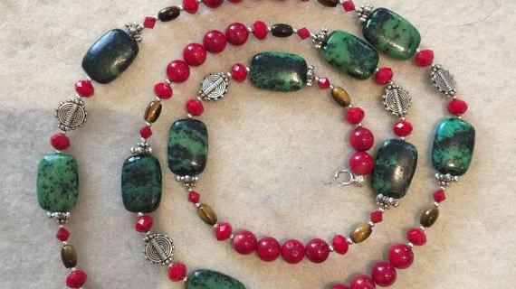 Twenty four inch necklace  with semi precious stones
