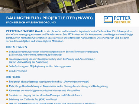 PROJEKTLEITER / BAUINGENIEUR WASSERVERSORGUNG