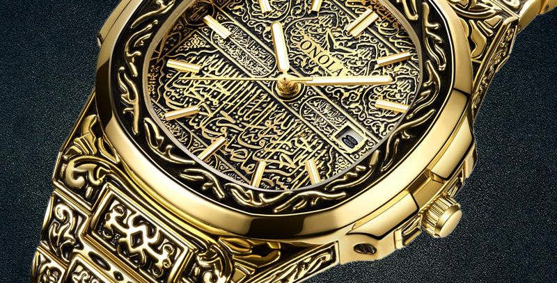 Fashion Quartz Watch Men Brand ONOLA Luxury Retro Golden Stainless Steel