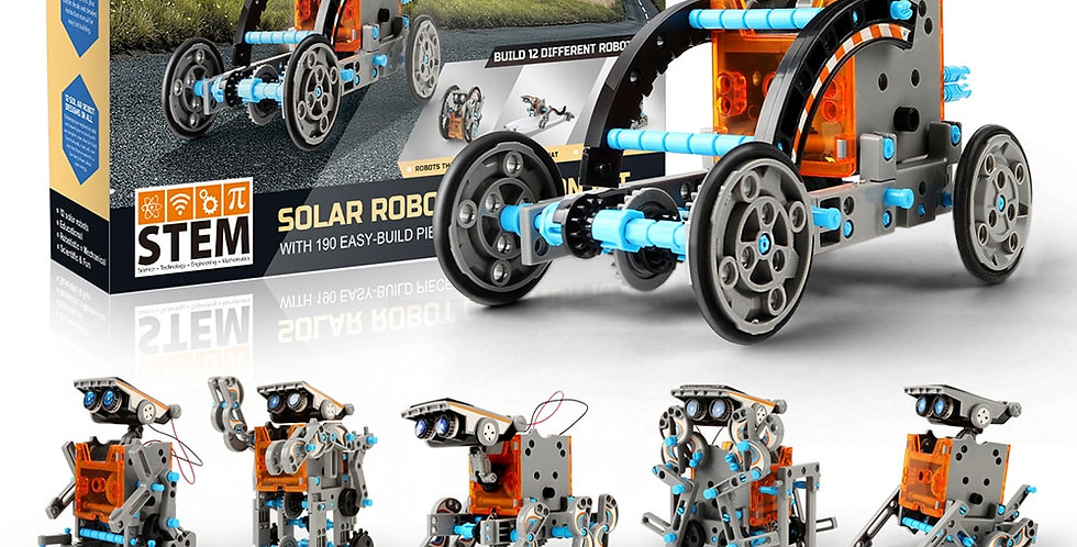 STEM 12-In-1 Solar Robot Creation 190-Piece Kit With Working Solar Power
