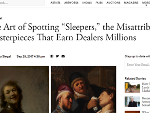 """Quoted in Artsy's """"The Art of Spotting Sleepers"""" article"""