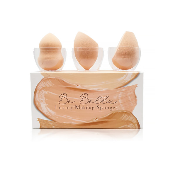 Be Bella Luxury Makeup Sponge Set | 3 Piece Makeup Sponges with Travel Cases
