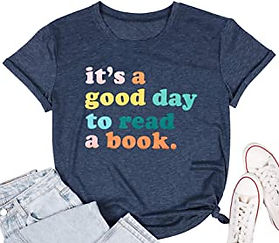 It's a Good Day to Read a Book T-Shirt Women Book Lovers Tops Bookworm Shirt Funny Graphic Print Reading Short Sleeve T