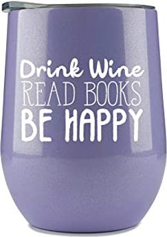 Book Lovers Gifts Women - Purple 12 oz Wine Tumbler or Mug - Idea for Book Club, Librarians, Bulk Readers, Literary, Glass, Bookworm, Reading