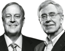 The Koch Brothers, infamous financial backers of far-right American parties and policies  (source: Nation of Change)
