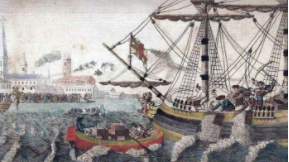 Painting of the 1773 Boston Tea Party (source: Wikipedia)