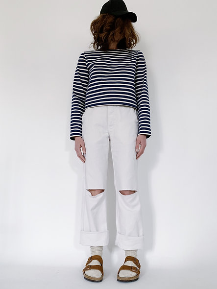 New Work Pant Holes Blanc
