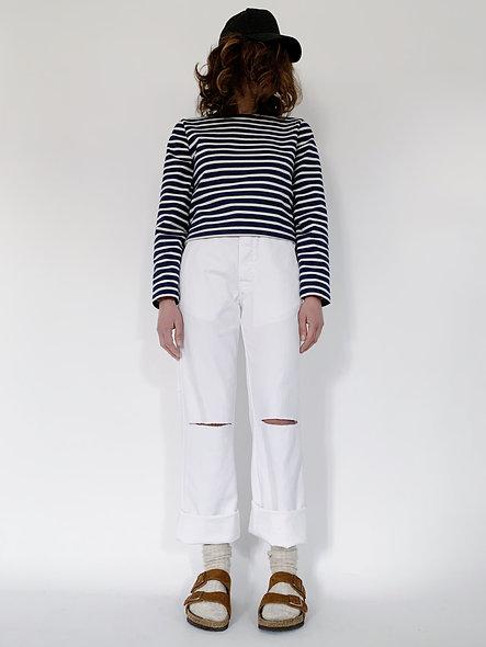 New Work Pant Holes Blanc