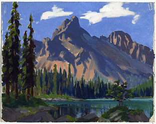 Image: Catharine Robb Whyte, O. C. (1906 – 1979, Canadian). Cathedral Mountain, Lake O'Hara. 1930 – 1940. oil on canvas. 28.0 x 35.5 cm. Gift of Catharine Robb Whyte, O. C., Banff, 1979. WyC.01.309. Whyte Museum of the Canadian Rockies.