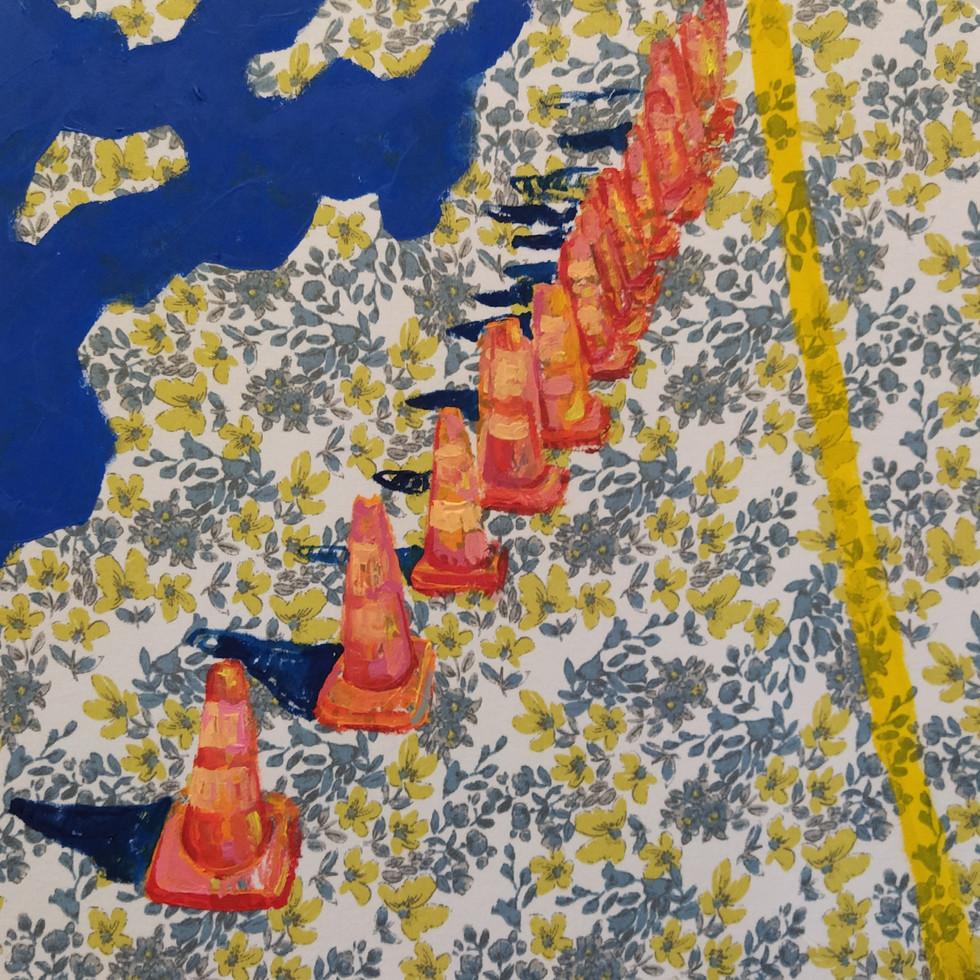 "Soldaditos Naranjas 7, acrylic on fabric, 12"" x 12"", 2020"