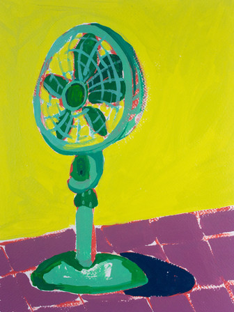 """Only Fans 10, acrylic on paper, 12"""" x 9"""", 2020"""