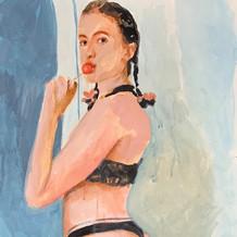 "Julia, acrylic on paper, 22"" x 15"", 2020"