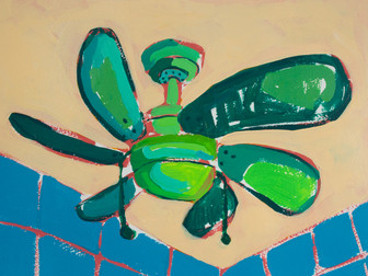 """Only Fans 14, acrylic on paper, 12"""" x 9"""", 2020"""