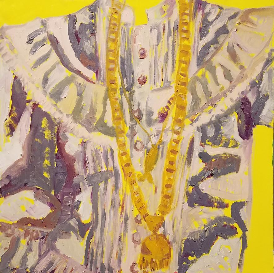 "Basquiña, oil on canvas, 20"" x 20"", 2019"
