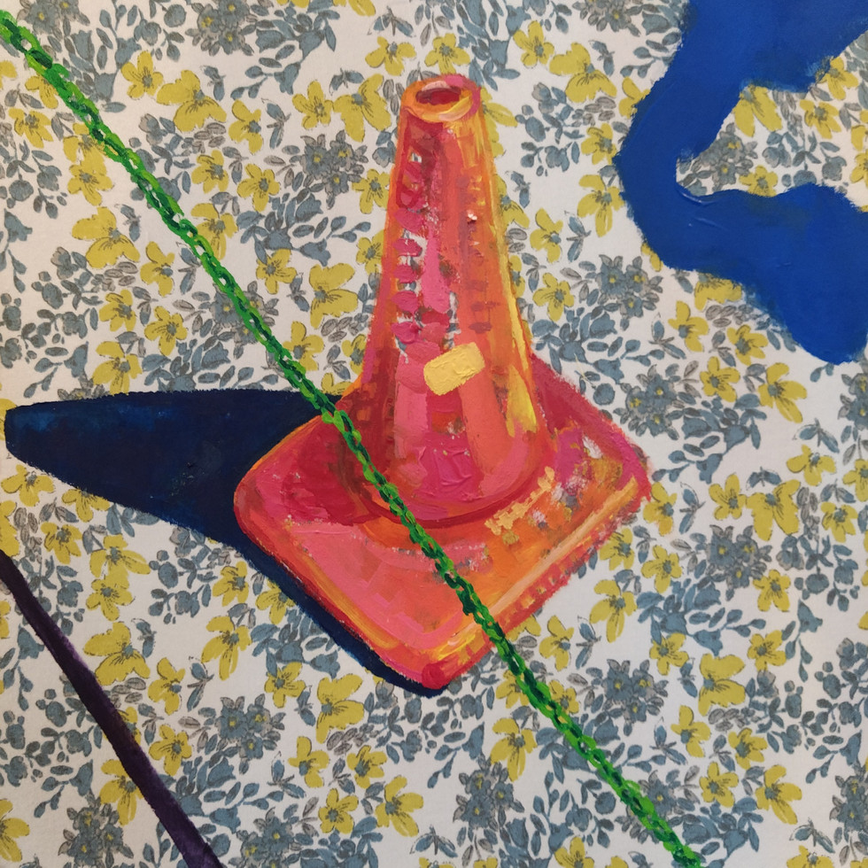 "Soldaditos Naranjas 3, acrylic on fabric, 12"" x 12"", 2020"