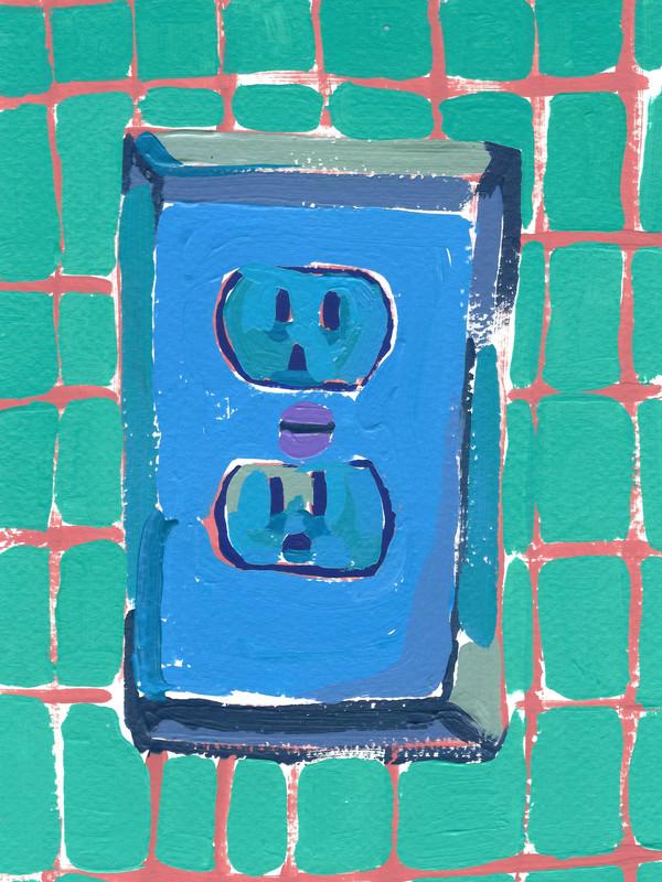 """Interruptores y tomacorrientes 01, acrylic on paper, 9"""" x 6"""", 2020"""
