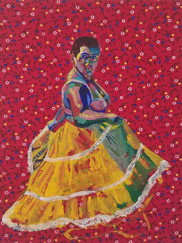 "Pollera Colorada 1, gouache on fabric, 20"" x 16"", 2019"