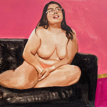 """Woman on Couch No.1, acrylic on paper, 10"""" x 15"""", 2020"""