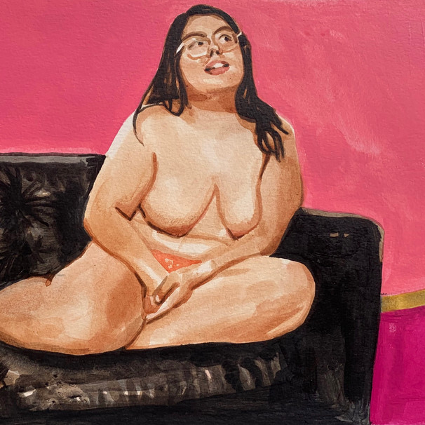 "Woman on Couch No.1, Acrylic on paper, 10"" x 15"", 2020"