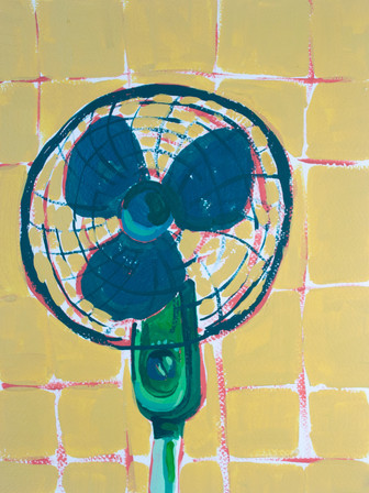 """Only Fans 02, acrylic on paper, 12"""" x 9"""", 2020"""