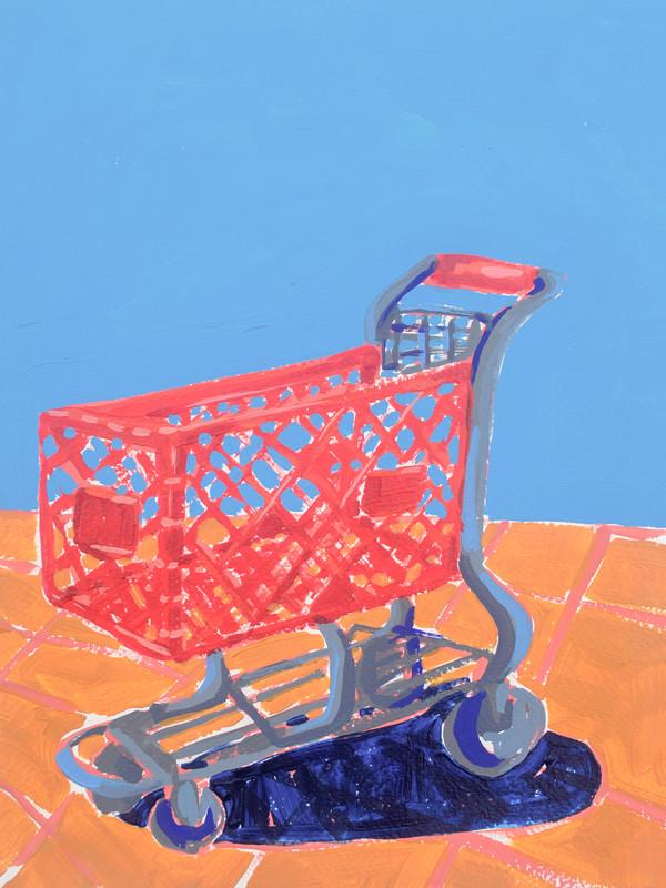 "Shopping Spree 01, acrylic on paper, 12"" x 9"", 2020"