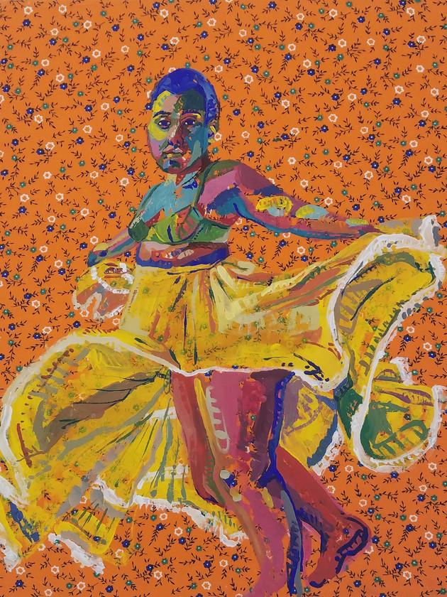 "Pollera Colorada 5, gouache on fabric, 20"" x 16"", 2019"