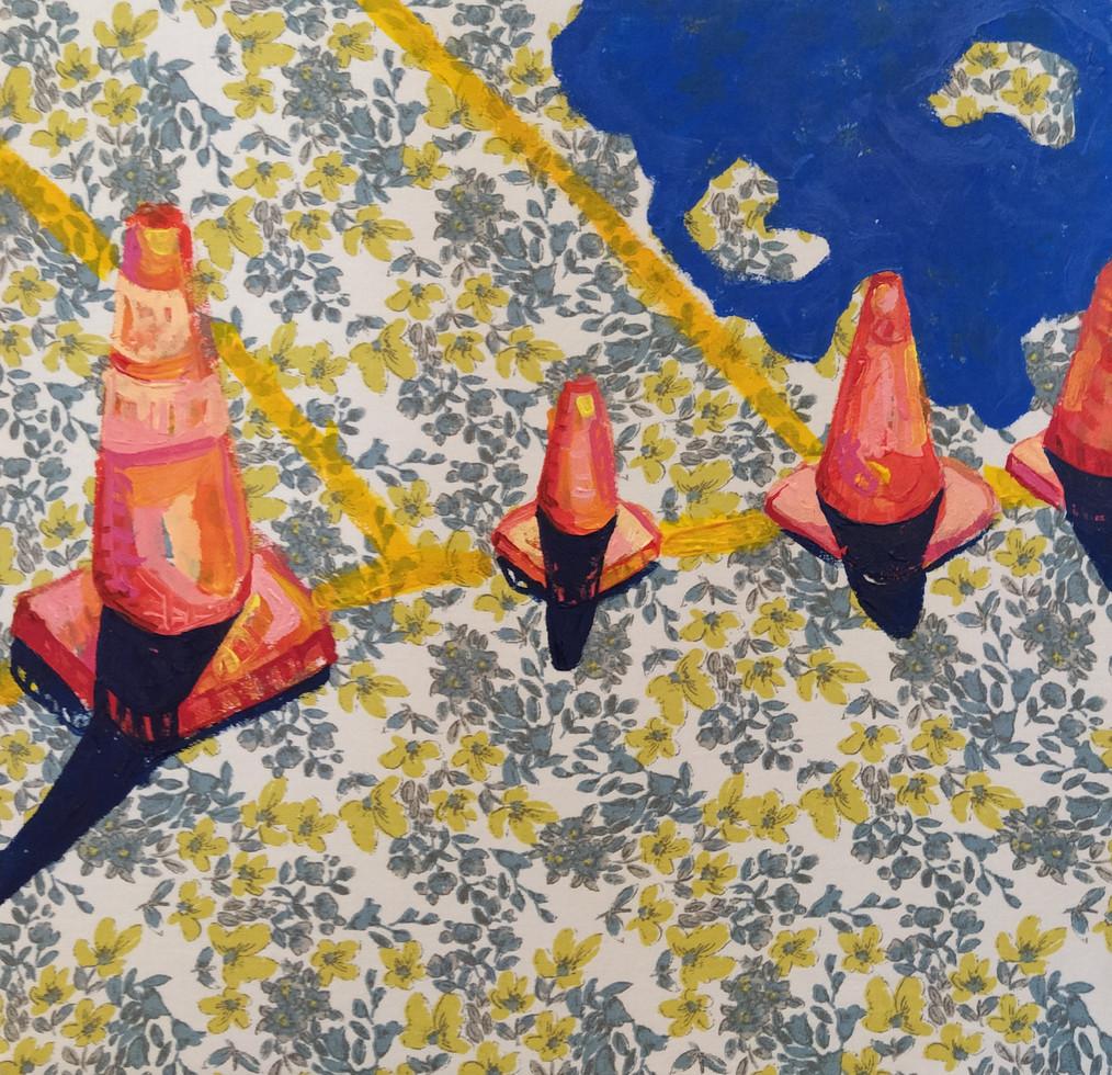 "Soldaditos Naranjas 4, acrylic on fabric, 12"" x 12"", 2020"