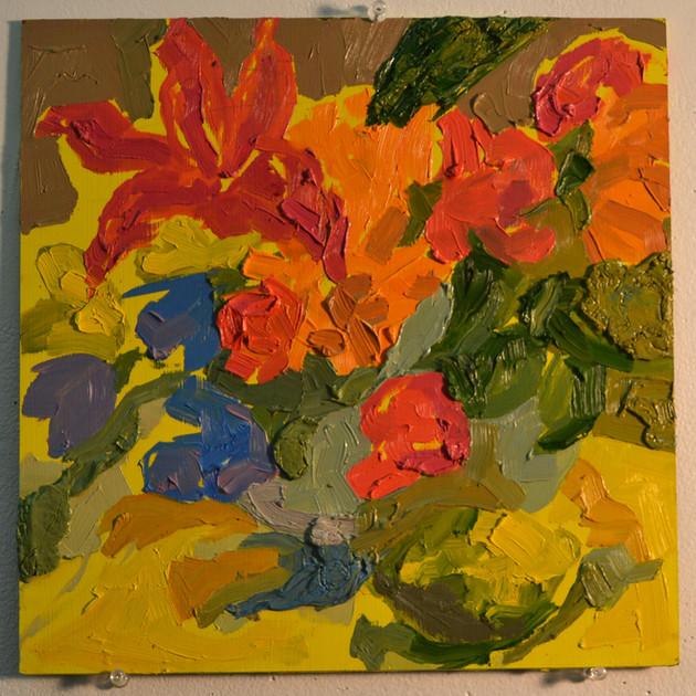 "Flowers and Lemon,  oil on panel, 12"" x 12"", 2019"