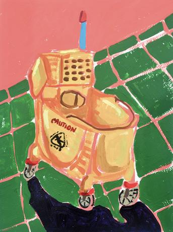 """Wet Floor (mop bucket) 03, acrylic on paper, 12"""" x 9"""", 2020"""
