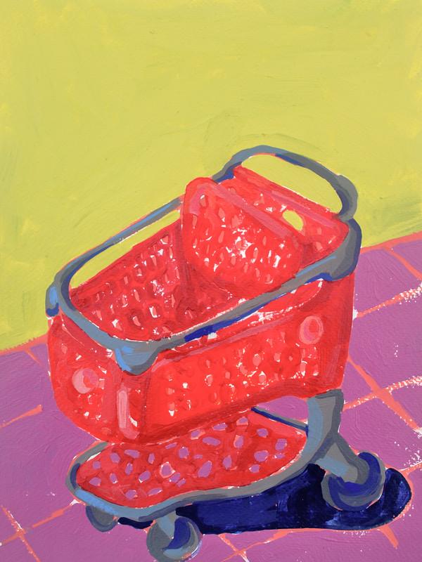 "Shopping Spree 05, acrylic on paper, 12"" x 9"", 2020"