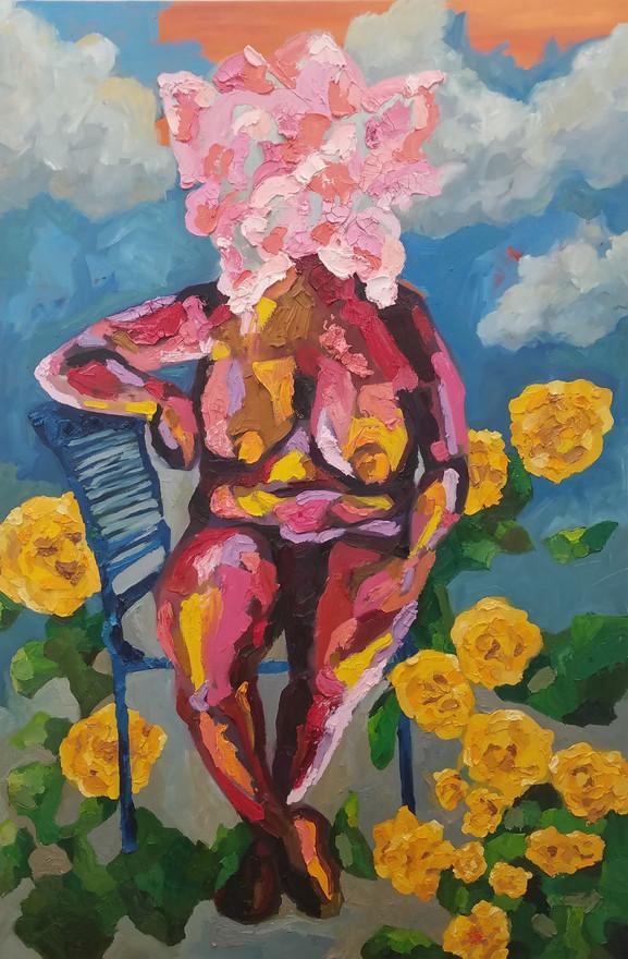 Como la Flor, oil on canvas, 5' x 3 1/2', 2018