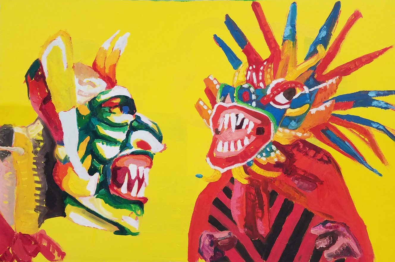 "Diablicos sucios, oil on canvas, 24"" x 36"", 2019"