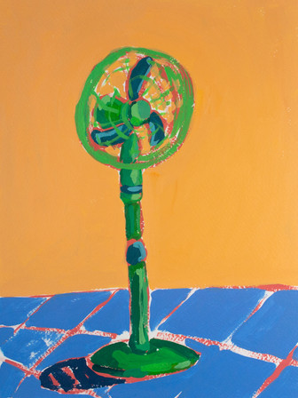 """Only Fans 01, acrylic on paper, 12"""" x 9"""", 2020"""