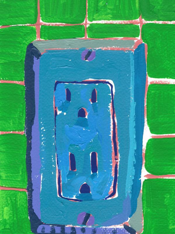 """Interruptores y tomacorrientes 02, acrylic on paper, 9"""" x 6"""", 2020"""