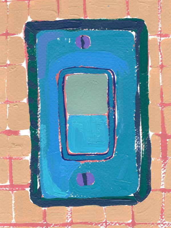 """Interruptores y tomacorrientes 03, acrylic on paper, 9"""" x 6"""", 2020"""