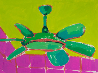 """Only Fans 12, acrylic on paper, 12"""" x 9"""", 2020"""