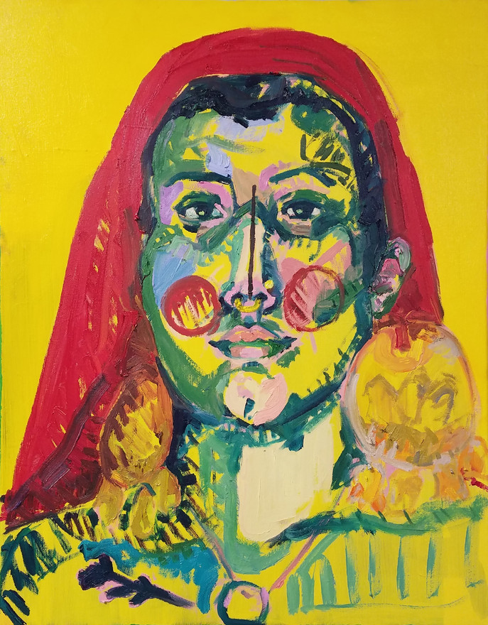 "Guna 2, oil on canvas, 28"" x 22"", 2019"